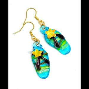 Aqua Blue Yellow Flower Glass Flip Flop Earrings